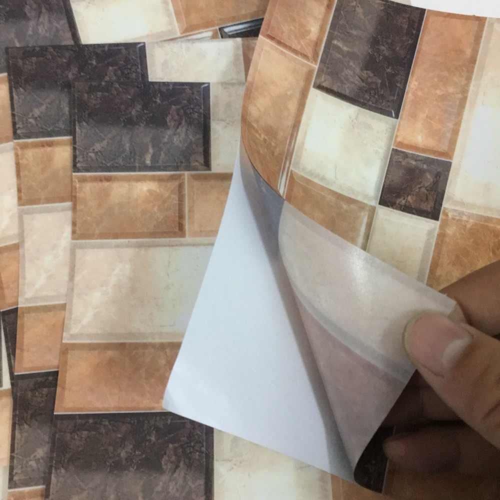 Salle De Bain Motif 6 pièces/ensemble marbre brique motif carrelage sol mur autocollant cuisine  salle de bains carreaux décoration art mural taille ligne vinyle mur