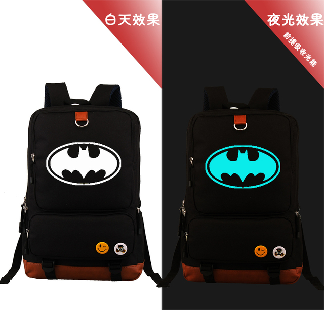 41900ff149 Anime Batman Superman Backpacks Unisex Children Cartoon Noctilucent Backpack  Teenages Bag Kids Travel School Bags Students