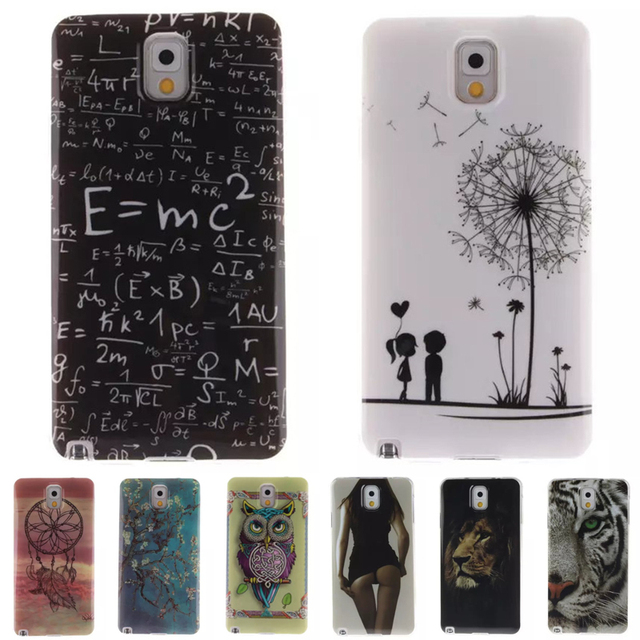a9c2542638b Coque Fundas Phone Cases for Samsung Galaxy Note 4 3 8 5 Case Sexy Girl  Tiger Lion Owl Tree Pattern Soft IMD TPU Cover