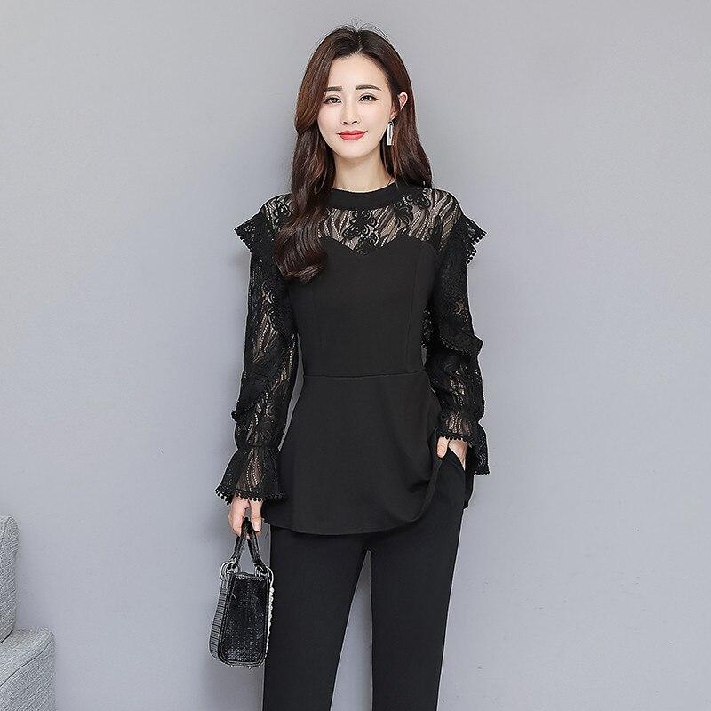 Xl-5xl Plus Size Black Lace Two Piece Women Sets Flare Sleeve Tunic Tops+pants Trousers Sets Suits Office Elegant Women's Sets 30