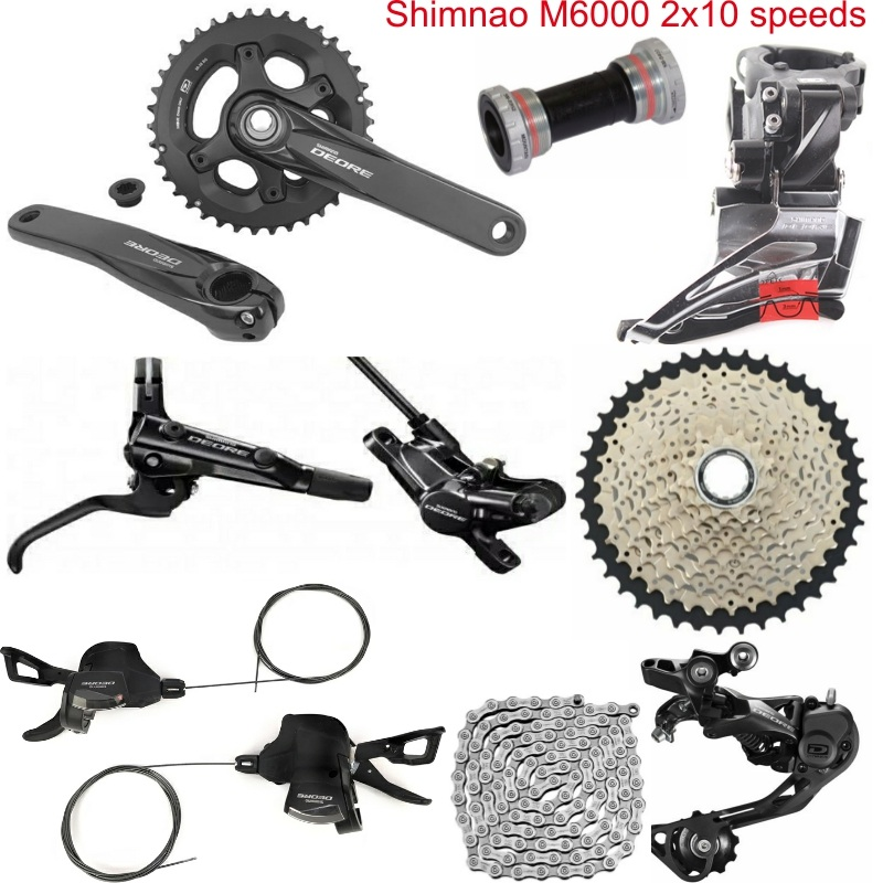 US $276 39 |Shimano DEORE M6000 8 PCS 3X10 2x10 Speed Groupset HG500 10 11  42T M6000 Rear Derailleur Shift Lever Crankset Brake-in Bicycle Crank &