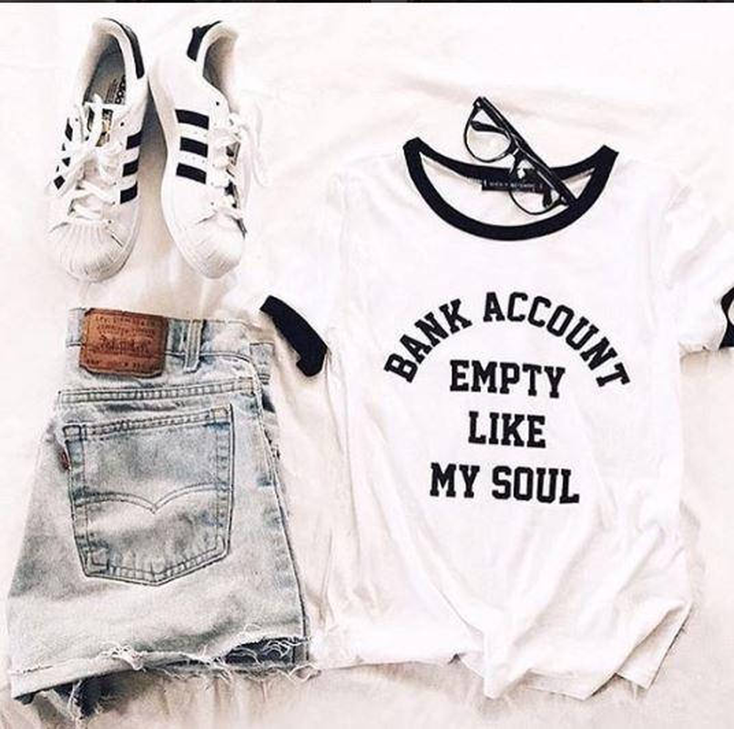 Funny T Shirt Aesthetic Ringer T Shirt Casual Top Tees Bank Account Empty Like My Soul Tumblr Shirt Hipster Grunge