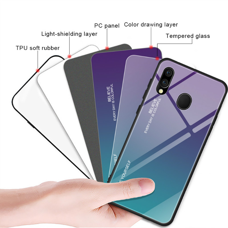 For Samsung Galaxy M20 M10 Case Gradient Tempered Glass Hard Case Soft TPU Silicone Frame Hard Glass Back Cover for Samsung M20 in Fitted Cases from Cellphones Telecommunications