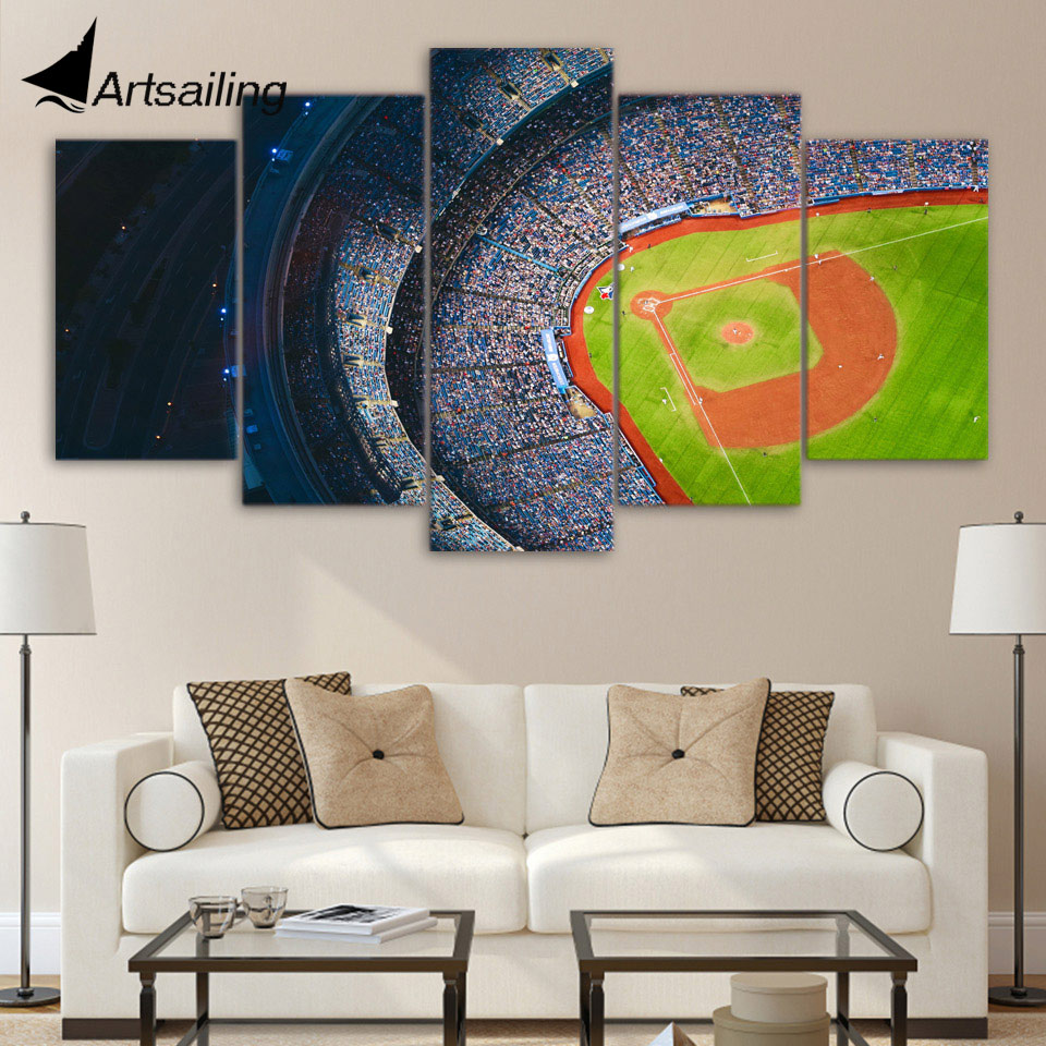 5 Piece Canvas Art Stadium Aerial View Wall Pictures For Living Room