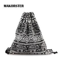MAKORSTER 2017 women backpacks printing backpack mochila rucksack fashion Animal Prints canvas bags cheap retro travel bags FBDX