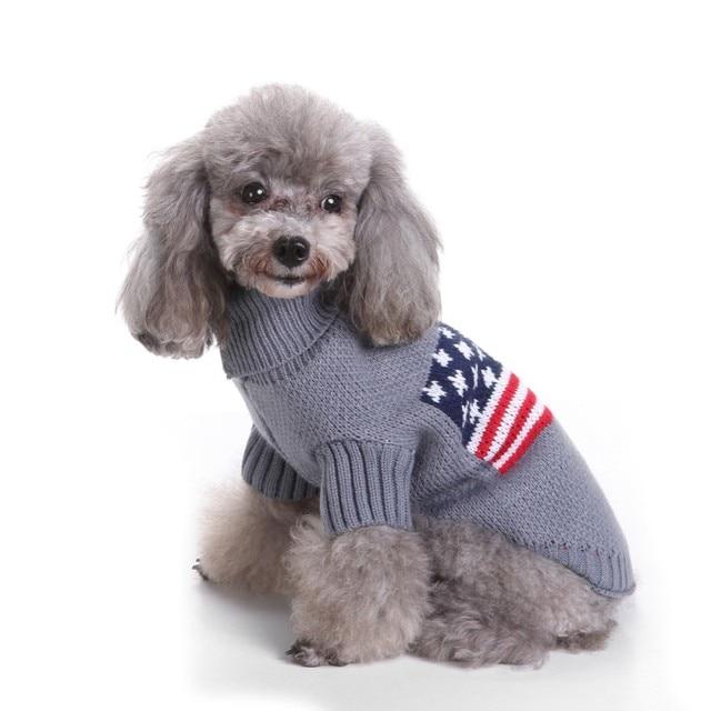 Hund Uns Flagge Muster Pullover Warme Stricken Häkeln Weihnachten