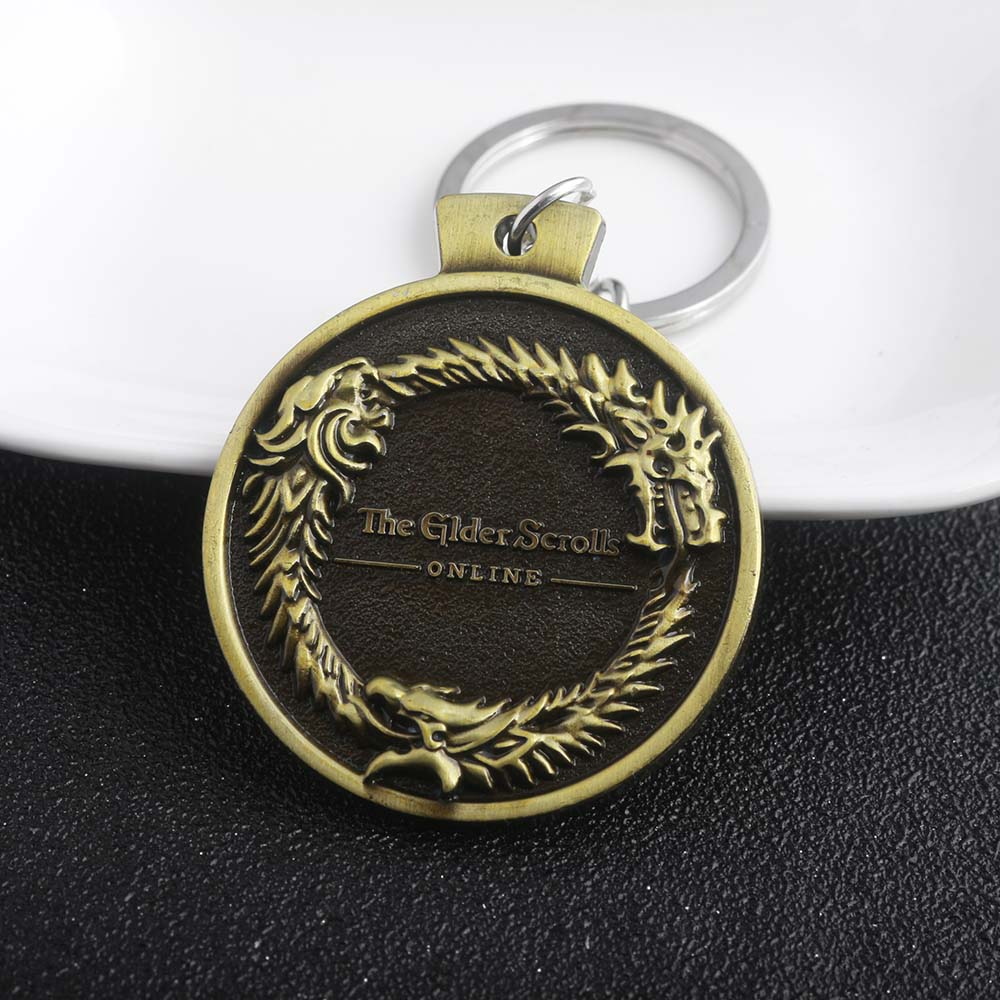 The Elder Scrolls Dragon Logo Keychains Hot Sale Vintage Antique Bronze Round Metal Keyrings For Men Accessories Gift