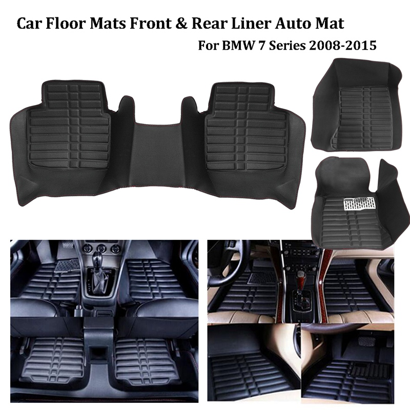 Autoleader 1Set Black PU Leather Car Floor Mats Front Rear Liner Auto Mat for BMW 7 Series 2008-2015 Auto Interior Floor Mats car floor mats covers top grade anti scratch 5d fire resistant waterproof durable senior floor mats for lan rover all series s