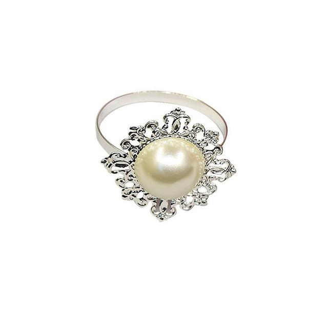 12pcs Faux Pearl Wedding Decor Napkin Ring Beige Servet Ring Buckle
