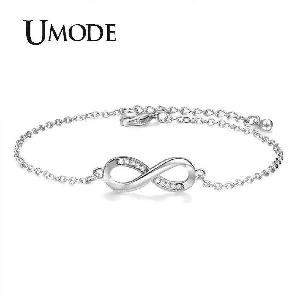 UMODE 2018 New Fashion Clear Zircon Crystal Bracelets for Women Eternity Infinite Bracelet Jewelry Accessories New Gifts AUB0137 in Chain Link Bracelets from Jewelry Accessories