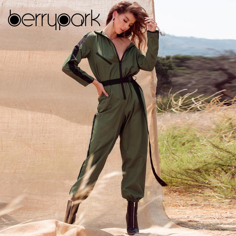 BerryPark 2019 Cargo Army Green Women Long Sleeve   Jumpsuit   Pocket Cool Streetwear Zipper Patchwork Romper with Belt Dropshipping