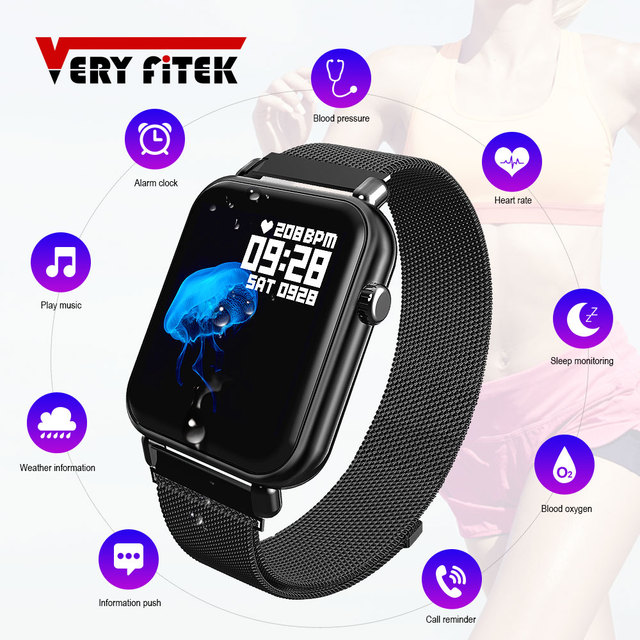 VERYFiTEK Blood Pressure Oxygen Smart Watch Heart Rate Monitor IP67 Fitness Bracelet Watch Women Men Smartwatch for IOS Android