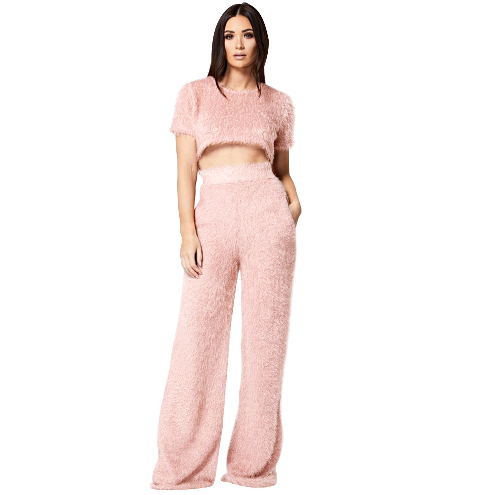 Solid Plush Velvet Women Set Casual Short Sleeve O Neck Crop Top With Wide Leg Pants Pockets Tracksuit Soft Suit Female Costume