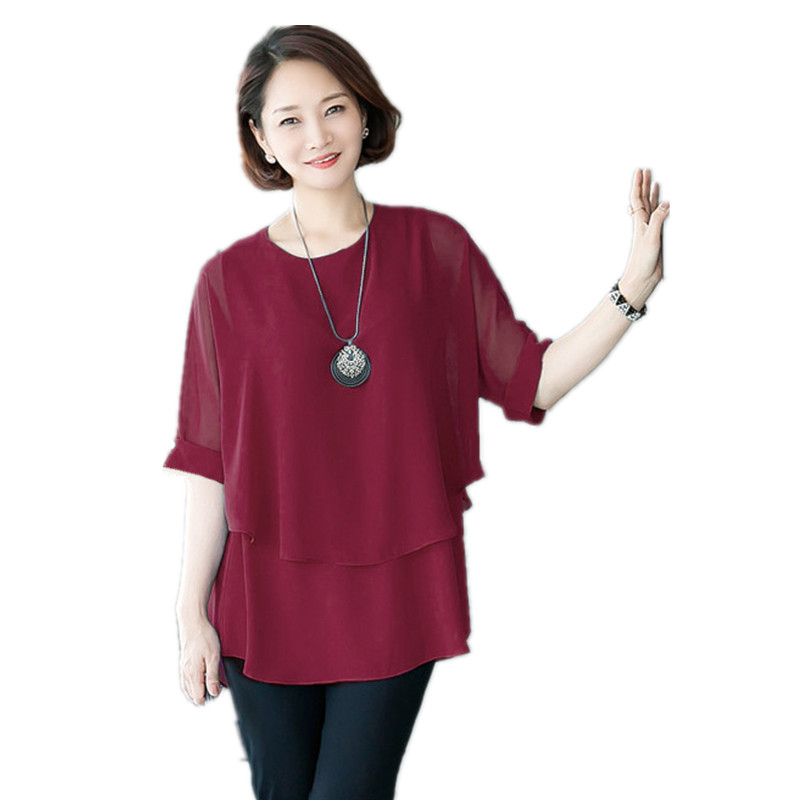 Women Tops Plus Size Clothing 6xl 7xl Mother Summer Middle-aged two pieces  Chiffon Shirt Ladies Elegant Blusas Big Size. 2 orders 8ad293020265