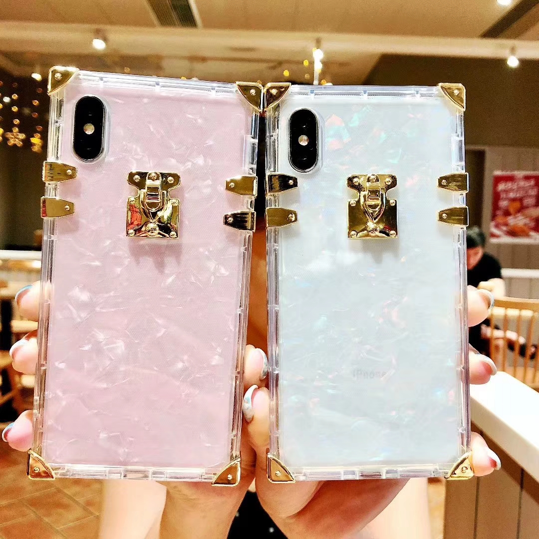 Fashion Conch Shell Square Clear TPU Case For IPhone 7 8 6 Plus X Luxury Bling Metal Coque Cover
