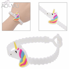 AOMU 5Pcs Cute Silicone Little Horse Unicorn Shape Bracelets For Girls Boys Kids Fashion Jewelry Accessories 8 Styles