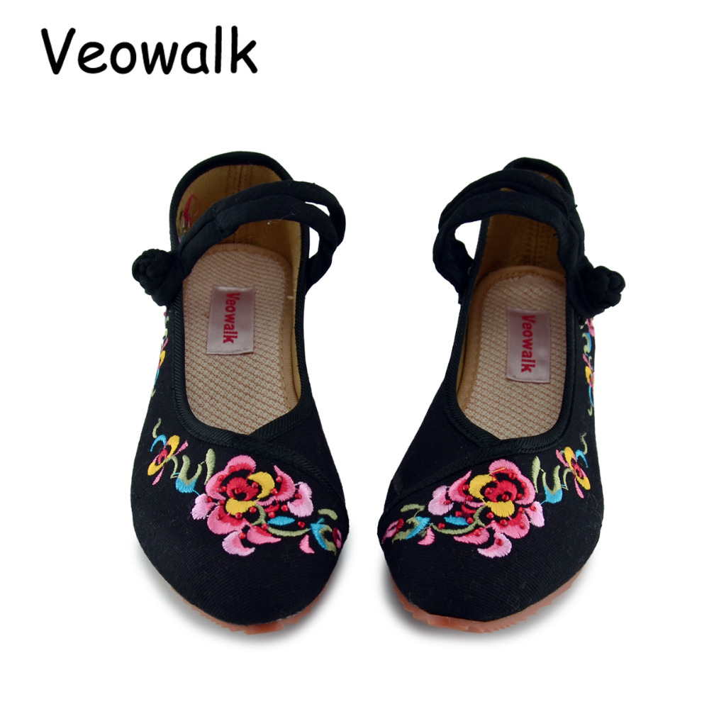Veowalk Women Flower Embroidery Cotton Shoes Pointed Toe Mary Jane Ladies Chinese Style Casual Soft Walking Flats Zapatos Mujer vintage embroidery women flats chinese floral canvas embroidered shoes national old beijing cloth single dance soft flats