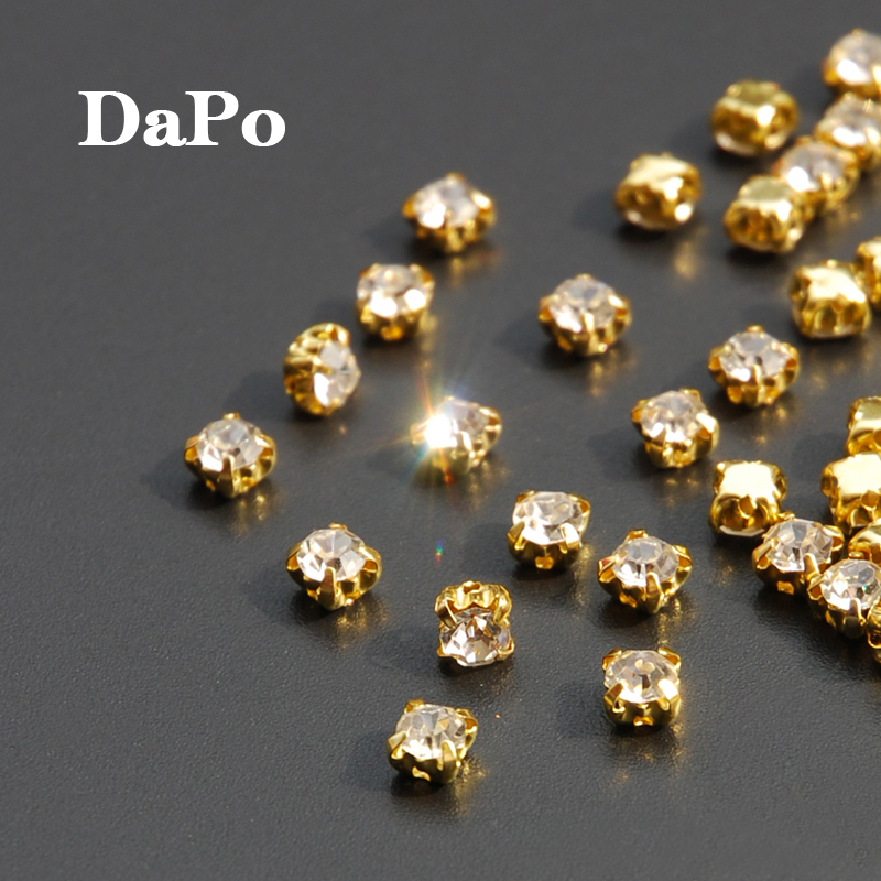 561a24e26a Promotion Buy 3 Get 1 free ! 4mm 144pcs Gold Plated Base Setting Claw Sew  On Clear Crystal Rhinestones Strass For Garment DIY-in Rhinestones from  Home ...
