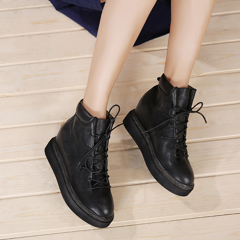 Height Increasing Women Shoes 2018 New Arrival Natural Leather Ankle Boots Lace Up Casual Platform Women' s Shoes