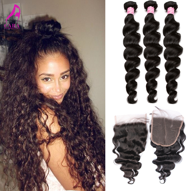Indian Virgin Hair With Closure Loose Wave 4 Pcs/Lot Indian Loose Wave 5x5 Lace Closure with Bundles Rosa Queen Hair Products