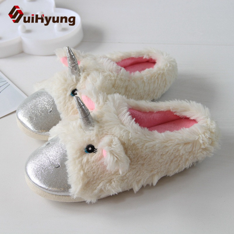 Suihyung Women Warm Home Slippers Cute Animal Shape Bedroom Floor Shoes Funny Furry Unicorn Indoor Shoes Female Plush Slippers qweek women home animal slippers fur indoor rabbit slippers warm ladies cute funny adult slippers female slide house shoes
