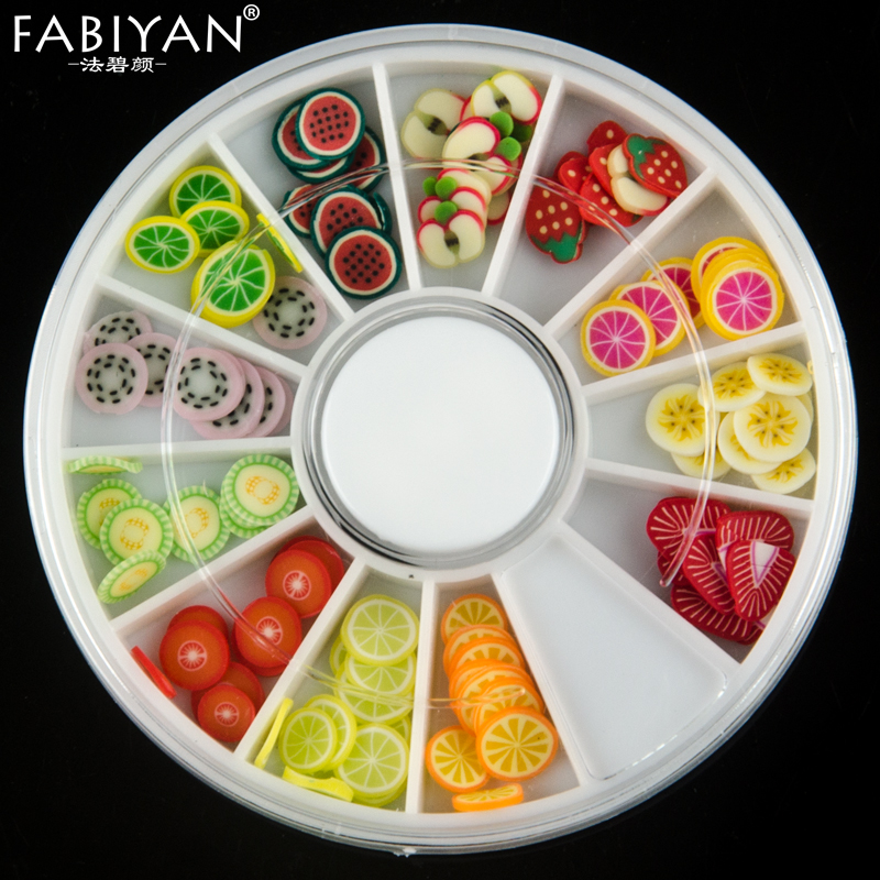 Wheel Nail Art DIY Designs 3D Polymer Clay Tiny Fimo Fruit Slices Decorations Wholesale Colorful