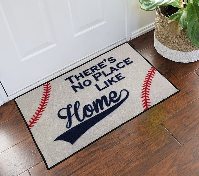 Theres No Place Like Home Baseball Entry Doormat For Bathroom
