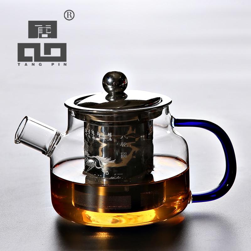 TANGPIN heat-resistant glass teapot with infuser kettle for flower tea pot glass tea set