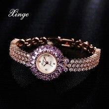 Xinge Brand Dress Women Watch Zircon Luxury Bracelet Rhinestone Water Resistant Wristwatches Ladies Fashion Classic Quartz Watch