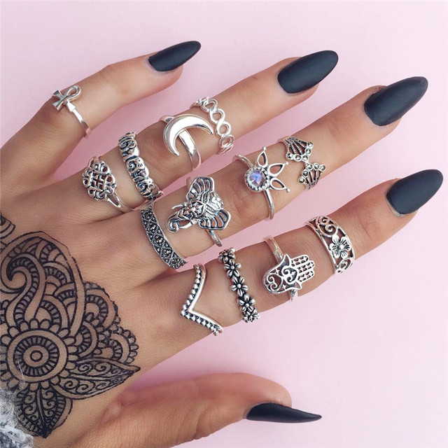 Miss JQ 13pcs/set Boho Style Retro Silver Plated Elephant Hollow Lotus Ring Sets for Women Knuckle Midi Rings Beach Jewelry 1