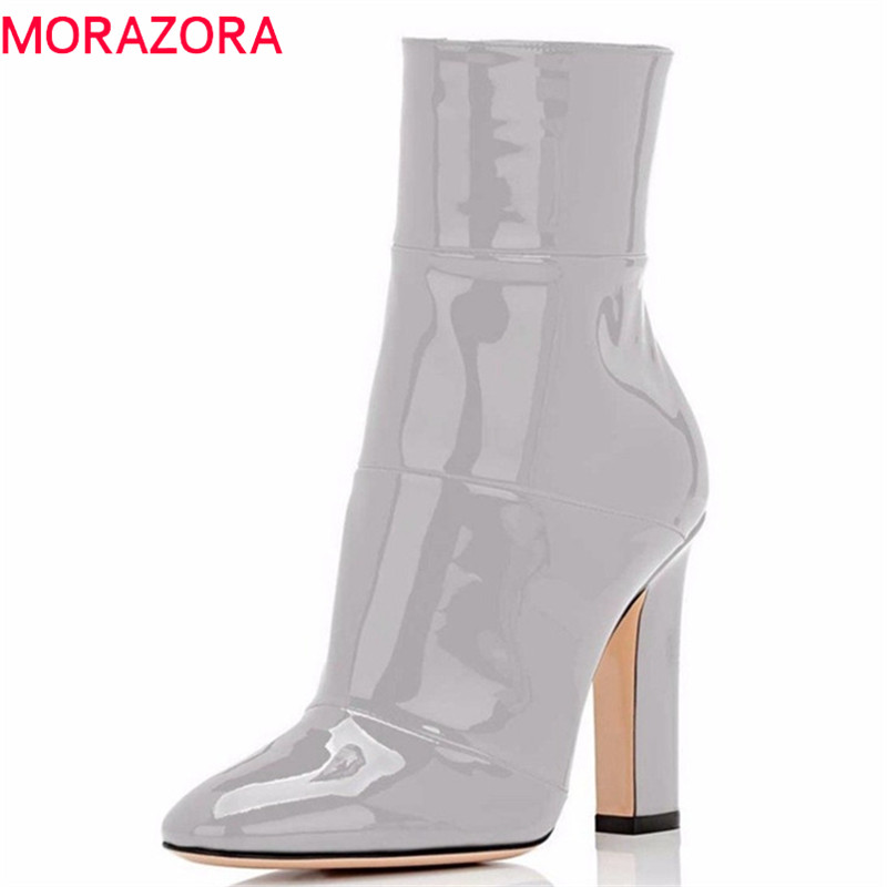 MORAZORA 2018 big size 35-45 ankle boots women pointed toe autumn boots solid colors fashion high heels Office ladies shoes MORAZORA 2018 big size 35-45 ankle boots women pointed toe autumn boots solid colors fashion high heels Office ladies shoes