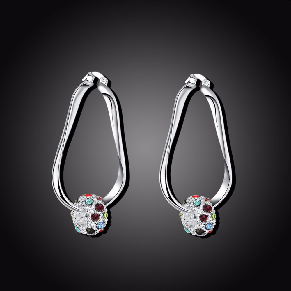 Womens Fashion Jewellery Earring 925 pure silver plated charm multi-color rhinestone bead Drop Earrings gift box free shipping