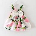 2016 nuevo vestido del bebé de la ropa de las muchachas vestido del resbalón infantil vestidos de niña de lemon imprimir princesa cumpleaños vestido para niña