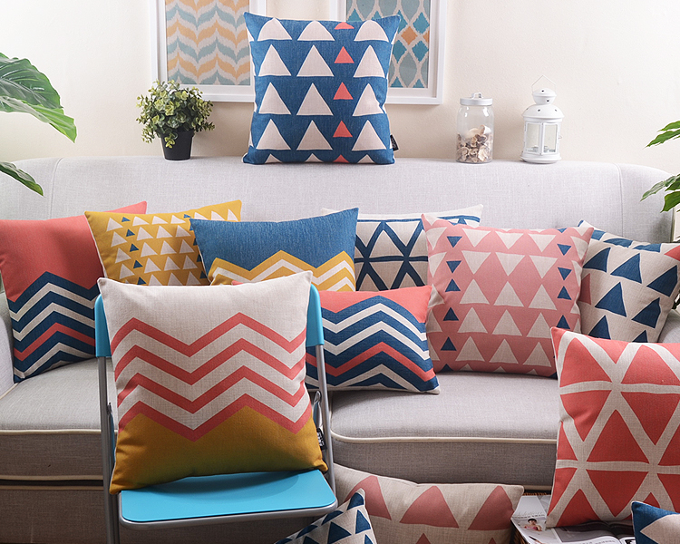 free shipping multi colored geometric triangles chevron zigzags pattern linen cushion cover home cafe decorative pillow case - Multi Cafe Decoration