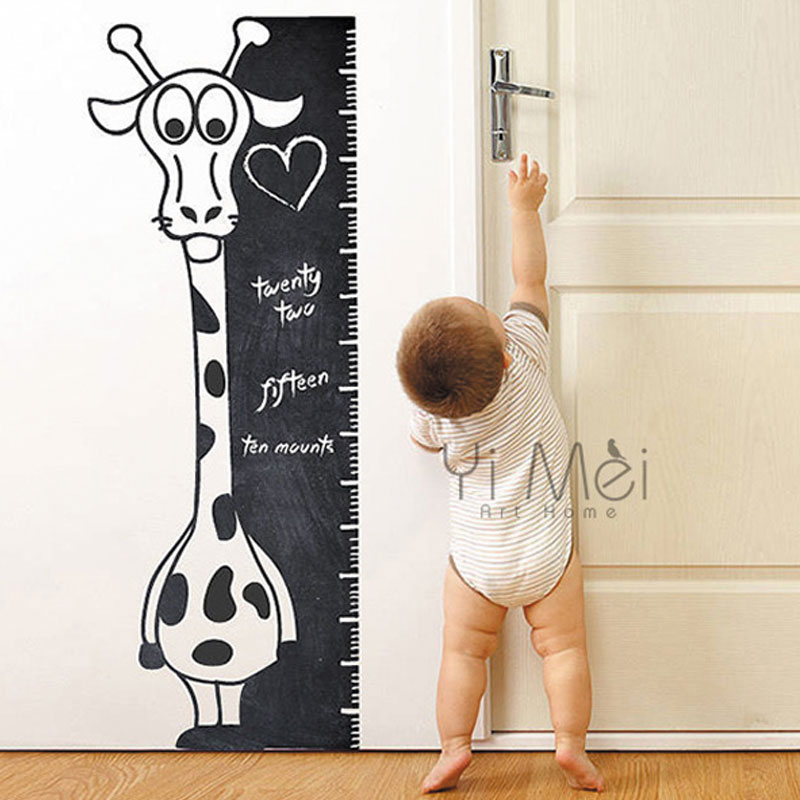 Cartoon Giraffe Height Ruler Line Growth Chart Background  Wallpaper Chalkboard Kids Nursery Room Classroom Daycare 40x110cm