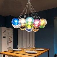 1PC led lamps DIY chandelier cafe children's room color glass bubble chandelier purple green blue white black D12CM lamps ZL323