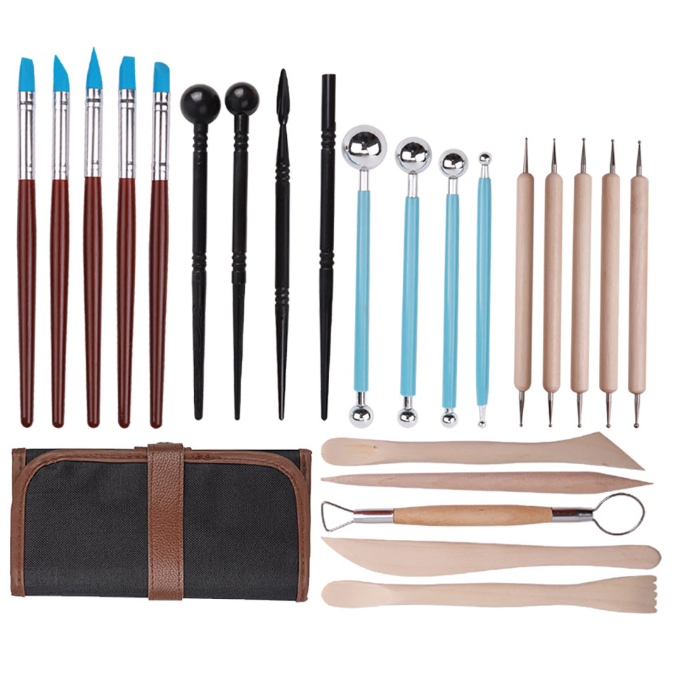 23pcs Polymer Modeling Clay Sculpting Tools Pottery Ceramic Clay Indentation Tools Set Cake Fondant Decoration and Nail Art Tool