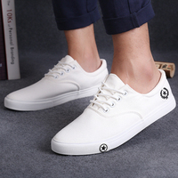 New Men Flat Shoes Spring Autumn Black White Man Casual Lace Up Canvas Shoes Daily Wear