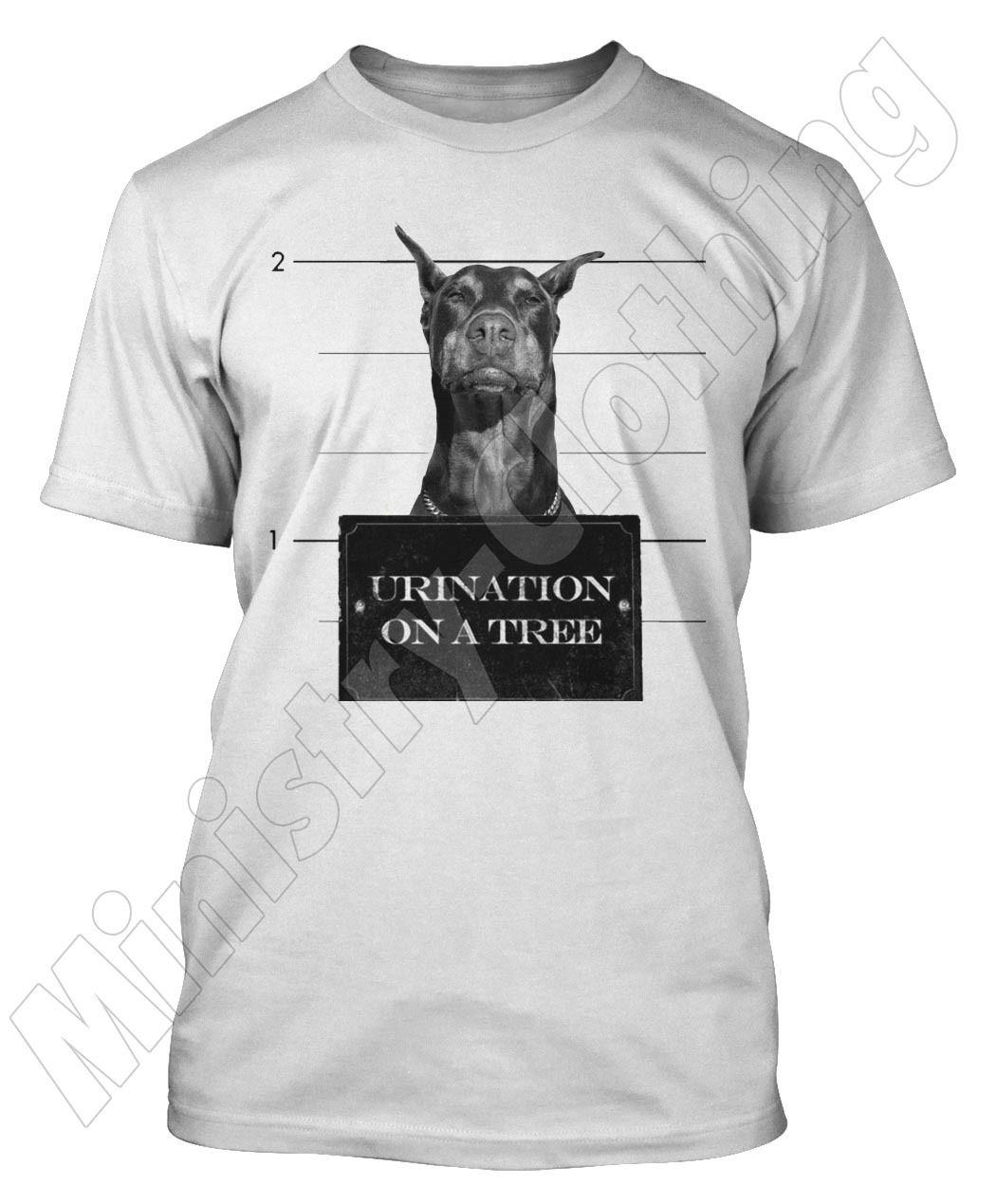 Доберман футболка Смешные Собаки Футболка Animal Print Top Кружка выстрел ДОБЕ Доберман