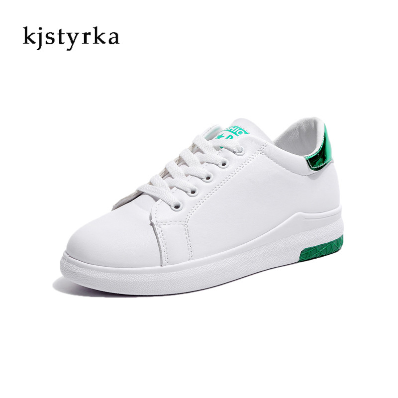 kjstyrka 2018 Female shoes sneakers women casual shoes PU leather sewing fashion lace-up ladies White sneakers zapatos mujer