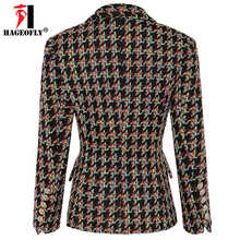 HAGEOFLY High Quality New Design Blazer Women Long Sleeve Woolen Coats Double Gold Buttons Blazers Outer Jacket Coat Female XL