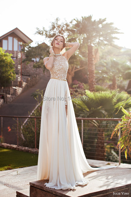 Hot Sale New Design high neck Lace sleeveless backless Floor Length ...