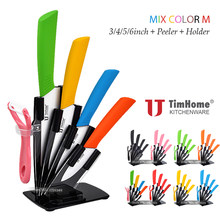 "3""4""5""6"" Inch kitchen ceramic chef knife set Peeler + Acrylic Stand/ Holder Timhome Zirconia paring knife(China)"