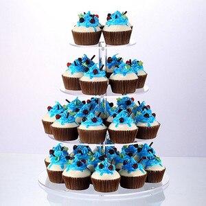 Image 2 - אקריליק 3/4 דוכן עוגת שכבות חתונה עוגות עגול כוס Cupcake מחזיק מסיבת יום הולדת קינוח עומד תצוגת Cupcake עומד
