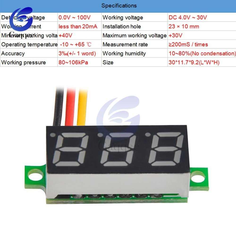 0,28 дюйма Мини DC 0-100 V 3-провод датчик, вольтметр Вольтметр цифровой светодиодный Дисплей цифровой Панель метр детектор измерительные приборы