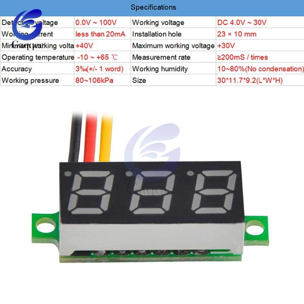 0.28 inch Mini DC 0- 100V 3-Wire Gauge Voltage Meter Voltmeter Digital LED Display Digital Panel Meter Detector Monitor Tools