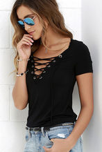 Ladies Fashion T-Shirt Loose Pullover Top With Lace Up V-Neck