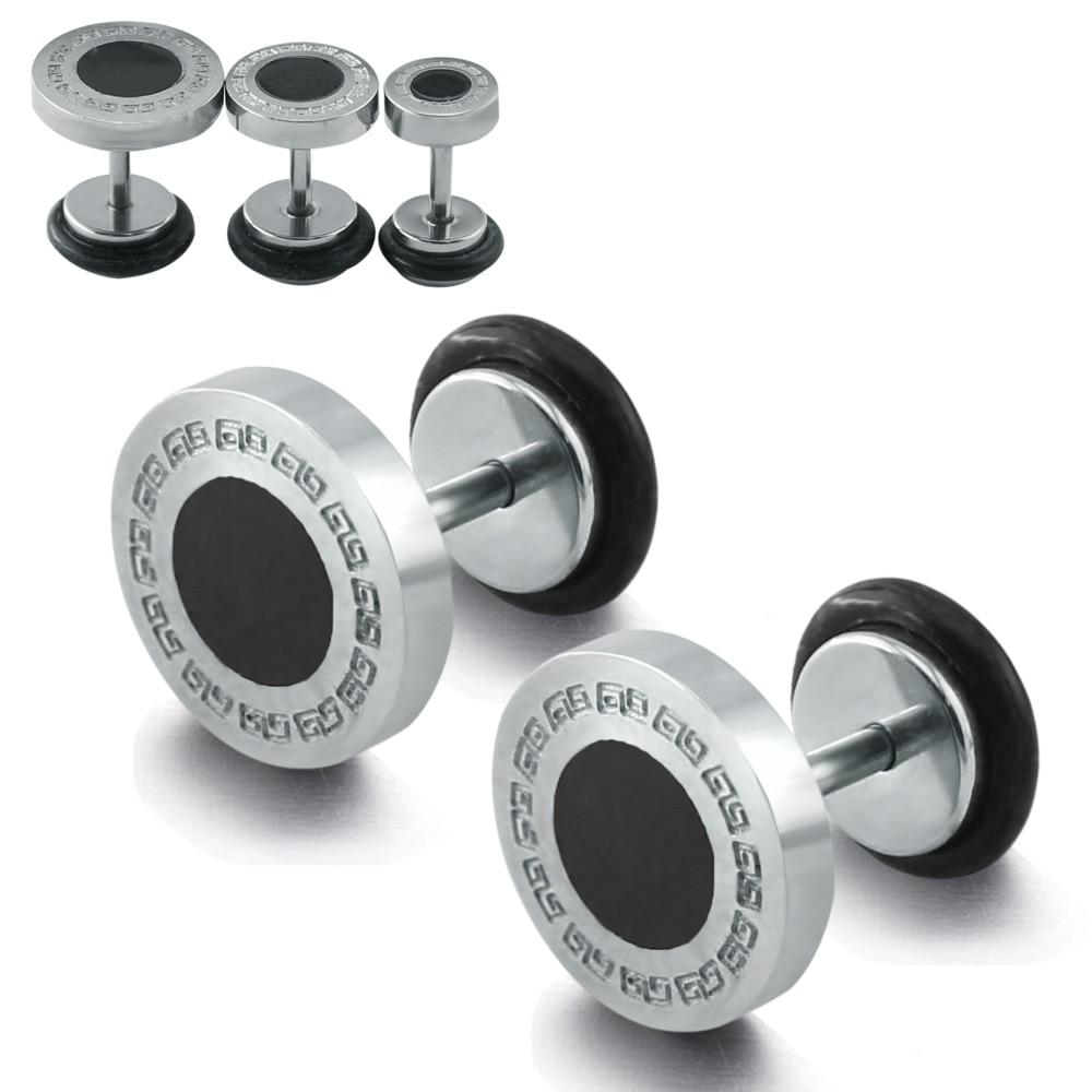 1 пара, высокое качество, поддельные Заглушки для ушей, нержавеющая сталь, серьги-гвоздики, поддельные затычки, серьги-гвоздики, настенная те...
