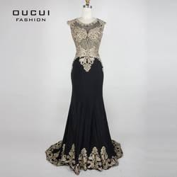 Настоящая фотография золото вышивать черный цвет Формальное Длинные вечерние платья мода OL102809 вечернее платье