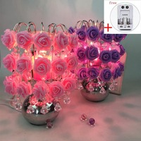 220V Creative Metal Alloy Electric Plug PE Rose Aroma Lamp Home Modern Decoration Essential Oil Night Light for Wedding Gifts